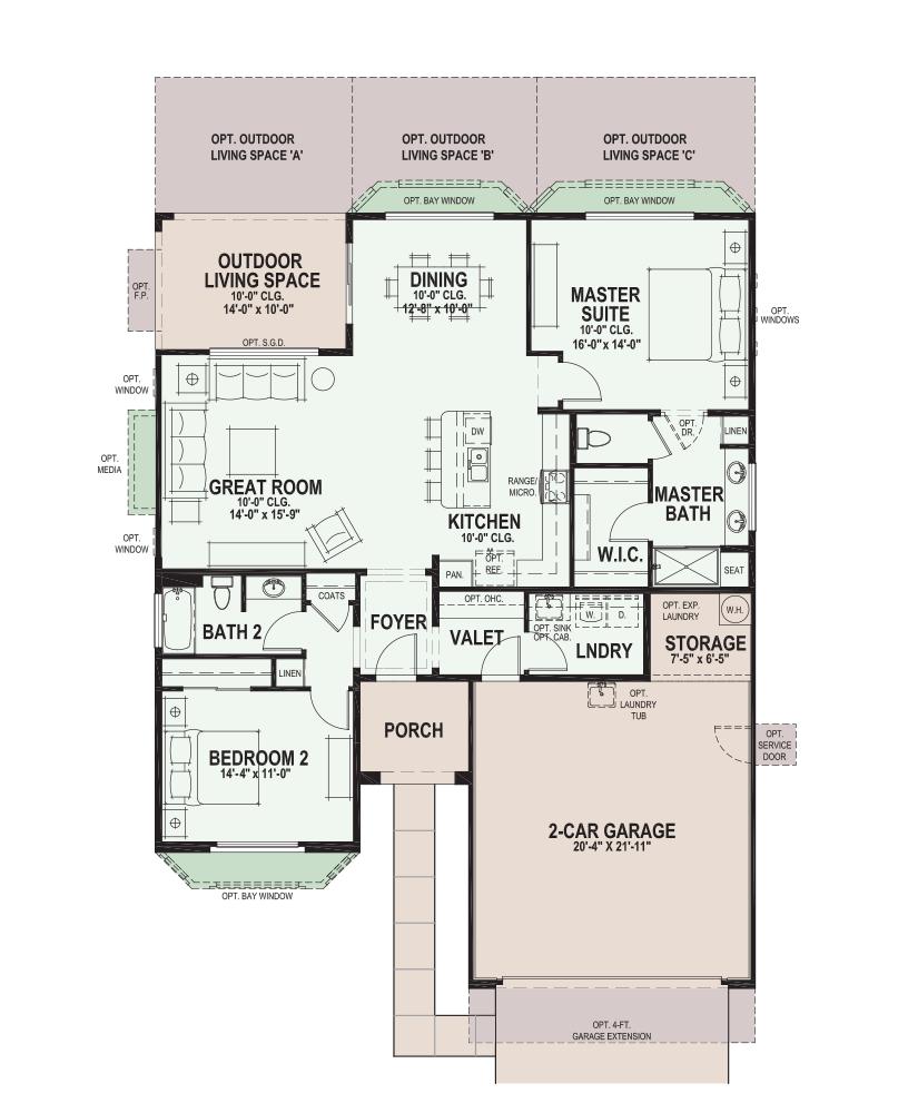 Saddlebrooke Hermosa Floor Plan Has 1 513 Sf