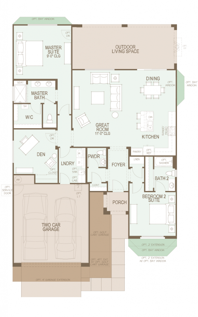 Saddlebrooke ranch dolce floor plan at 1744 sf for Tucson home builders floor plans