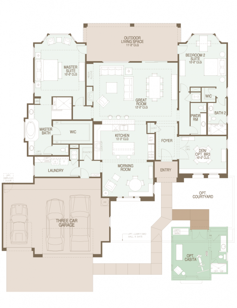 The preserve sabino floor plan has over 2650 sf for Tucson home builders floor plans