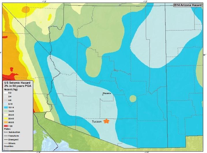 Natural Disasters In Arizona Seismic Map