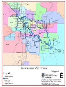 Tucson Zip Code Map For Tucson Area Communities