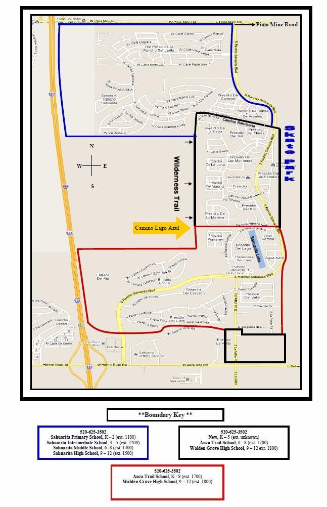 Map Of Arizona In 1800.Sahuarita School District Boundary Map