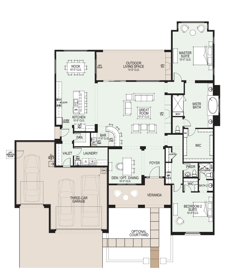 The preserve ventana floor plan has over 2600 sf for Tucson home builders floor plans